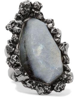 Silver-tone Labradorite Ring