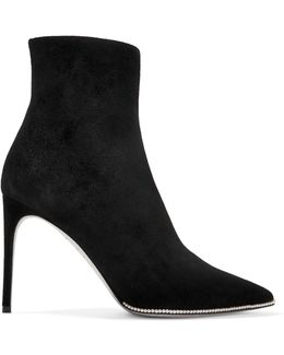 Faux Pearl-embellished Suede Ankle Boots