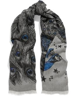 Metallic Wool-blend Jacquard Scarf