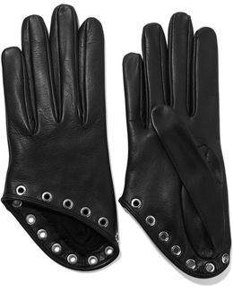Eyelet-embellished Leather Gloves