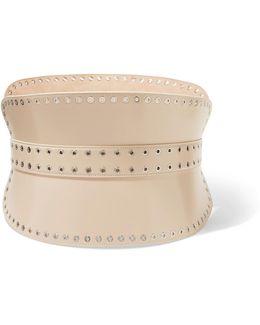 Eyelet-embellished Leather Waist Belt