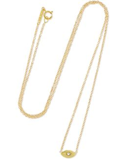 Mini Evil Eye 18-karat Gold Diamond Necklace