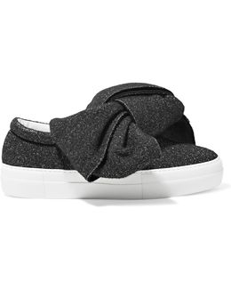 Knotted Glittered Lurex Slip-on Sneakers