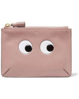 Eyes Loose Pocket Small Embossed Leather Pouch