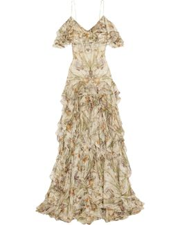 Cold-shoulder Ruffled Floral-print Silk-crepon Gown