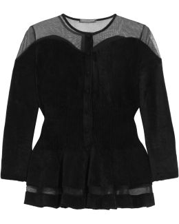Mesh-trimmed Chenille Cardigan