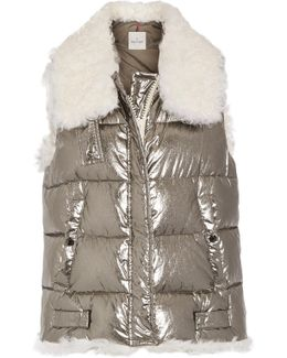 Kerria Shearling-trimmed Metallic Quilted Cotton Down Vest