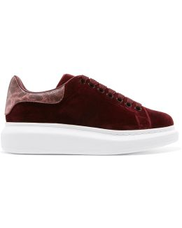 Snake-trimmed Velvet Exaggerated-sole Sneakers