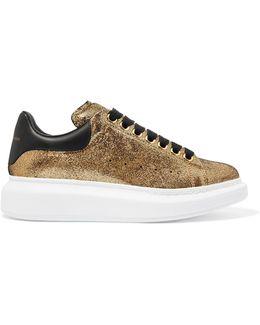 Metallic Textured-leather Sneakers