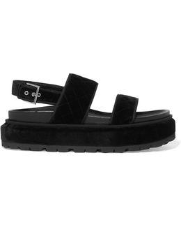 Quilted Velvet Platform Sandals