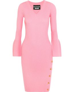 Button-detailed Ribbed Wool Dress