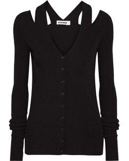 Cold-shoulder Ribbed-knit Cardigan