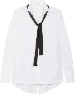 Beaded Grosgrain-trimmed Cotton-poplin And Cloqué Shirt