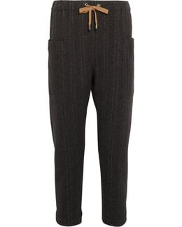 Pinstriped Cashmere Track Pants