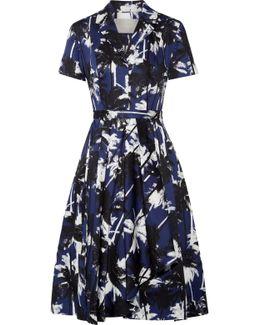 Pleated Printed Cotton-poplin Dress