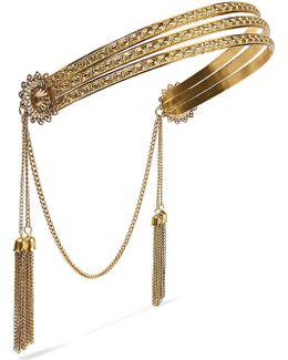 Florentine Tasseled Gold-plated Headband