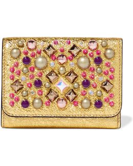Macaron Embellished Metallic Cracked-leather Wallet