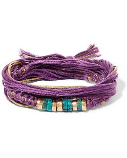 Takayama Cotton, Gold-plated And Turquoise Wrap Bracelet