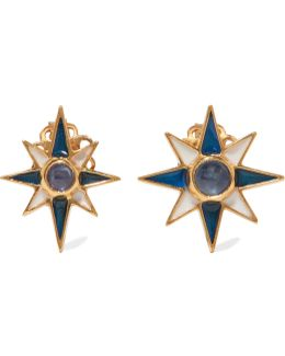 Gold-plated, Sapphire And Enamel Earrings