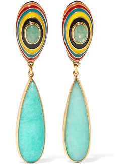 Gold-plated, Enamel, Emerald And Amazonite Earrings
