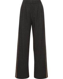 Leather-trimmed Pinstriped Wool And Cotton-blend Wide-leg Pants