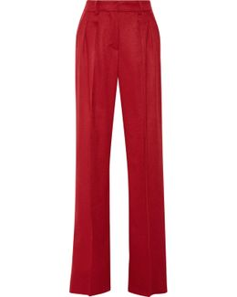 Leather-trimmed Camel Hair Wide-leg Pants