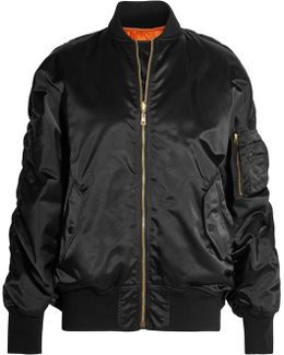 Oversized Jersey-trimmed Satin Bomber Jacket