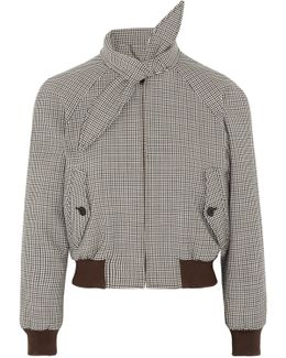 Harrington Checked Stretch Wool-blend Bomber Jacket