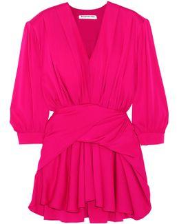 Gathered Silk-blend Satin Mini Dress