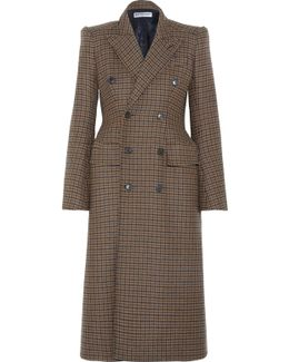 Hourglass Double-breasted Checked Wool-blend Coat