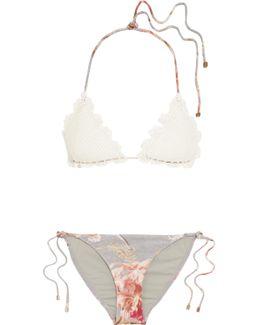 Mercer Crocheted Cotton And Stretch-jersey Triangle Bikini