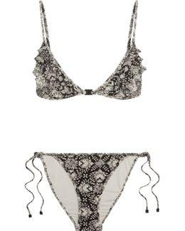 Divinity Ruffled Floral-print Triangle Bikini