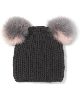 Mimi Faux Fur-trimmed Wool Beanie