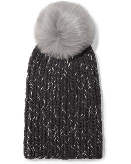 Rain Faux Fur-trimmed Chunky-knit Wool Beanie
