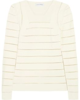 Pointelle Stretch-knit Sweater