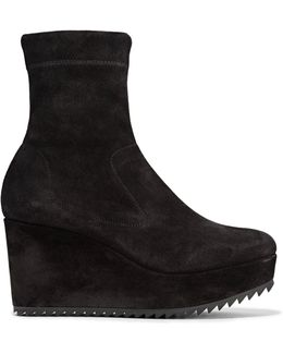 Urika Stretch-suede Wedge Ankle Boots