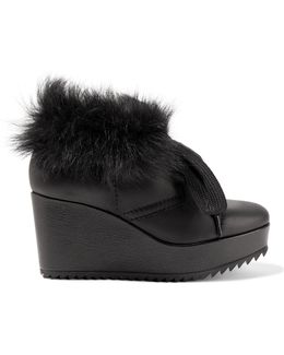 Ubon Shearling-lined Leather Wedge Ankle Boots