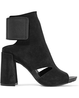 Yeca Cutout Leather-trimmed Suede Ankle Boots