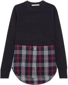 Garrett Ribbed Merino Wool And Checked Cotton-blend Gauze Sweater