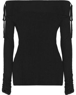 Nolan Ballet Off-the-shoulder Ribbed Merino Wool Sweater