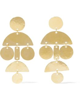 Mini Pom Pom Hammered Gold-plated Earrings