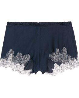 Chantilly Lace-trimmed Silk-blend Satin Shorts