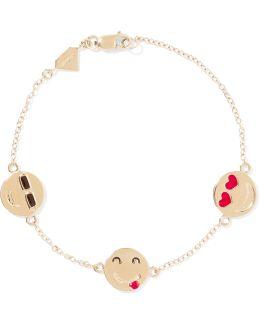 I'm A Flirt Enameled 14-karat Gold Bracelet