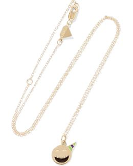 Small Party Animal Enameled 14-karat Gold Necklace