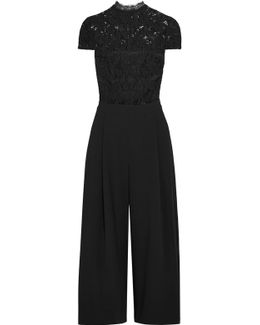 Elysia Stretch-lace And Crepe Jumpsuit