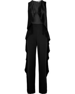 Sarandon Ruffle-trimmed Satin And Crepe Jumpsuit