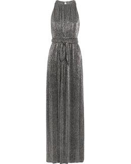 Metallic Plissé-lurex Gown