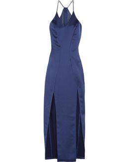 Chiffon-paneled Satin Gown