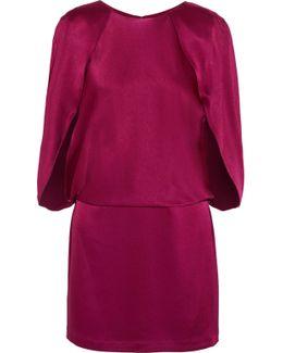 Cape-effect Satin Mini Dress