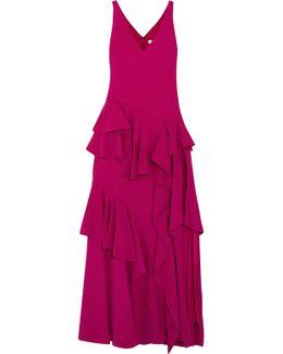 Tiered Ruffled Crepe Maxi Dress